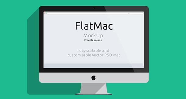 【素材】iMac, Macbook, iPad, ブラウザのフラットなモックアップ無料PSD