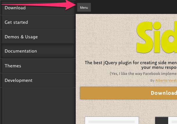 アプリでよくみかける左右のスライダーメニューをWebサイトに実装するモジュール