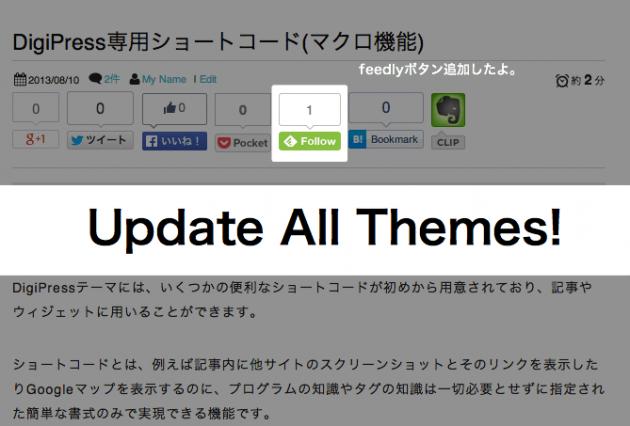 [Update] feedlyボタン追加、SNSシェア数取得の高速化など多数改良!