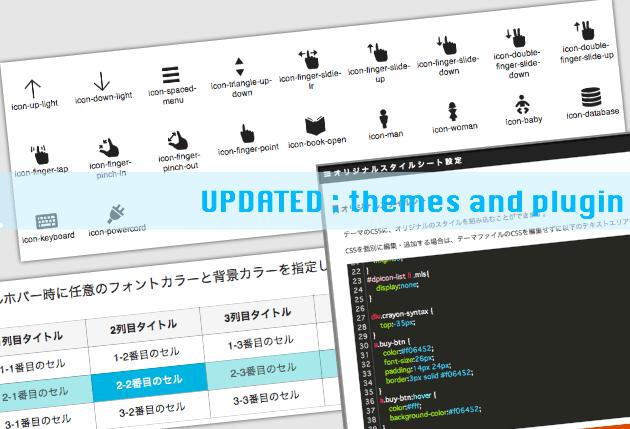 【Update】アイコンフォント追加&テーブルショートコードを強化など