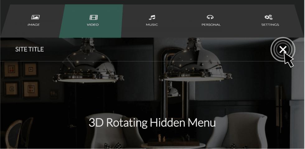 CSSのみ!クリックでメニューが回転して開閉する3Dアニメーションサンプル